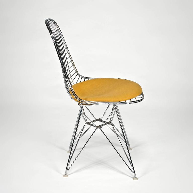 Wire Side Chair 'DKR' with Seat Cushion by Charles and Ray Eames 3