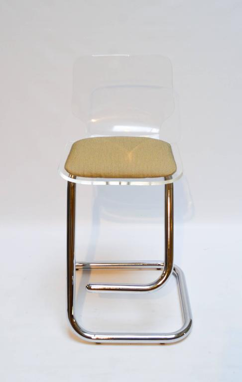 Set Of Three Lucite And Chrome Bar Stools By Luigi Bardini