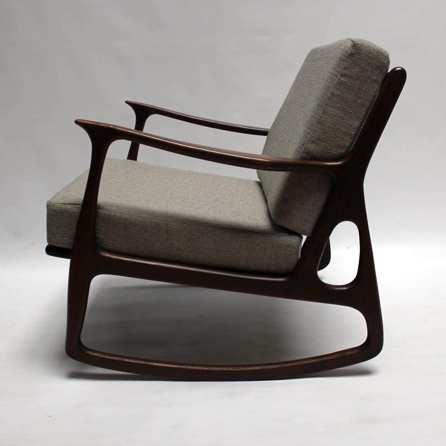 mid century modern italian upholstered walnut rocking chair at 1stdibs