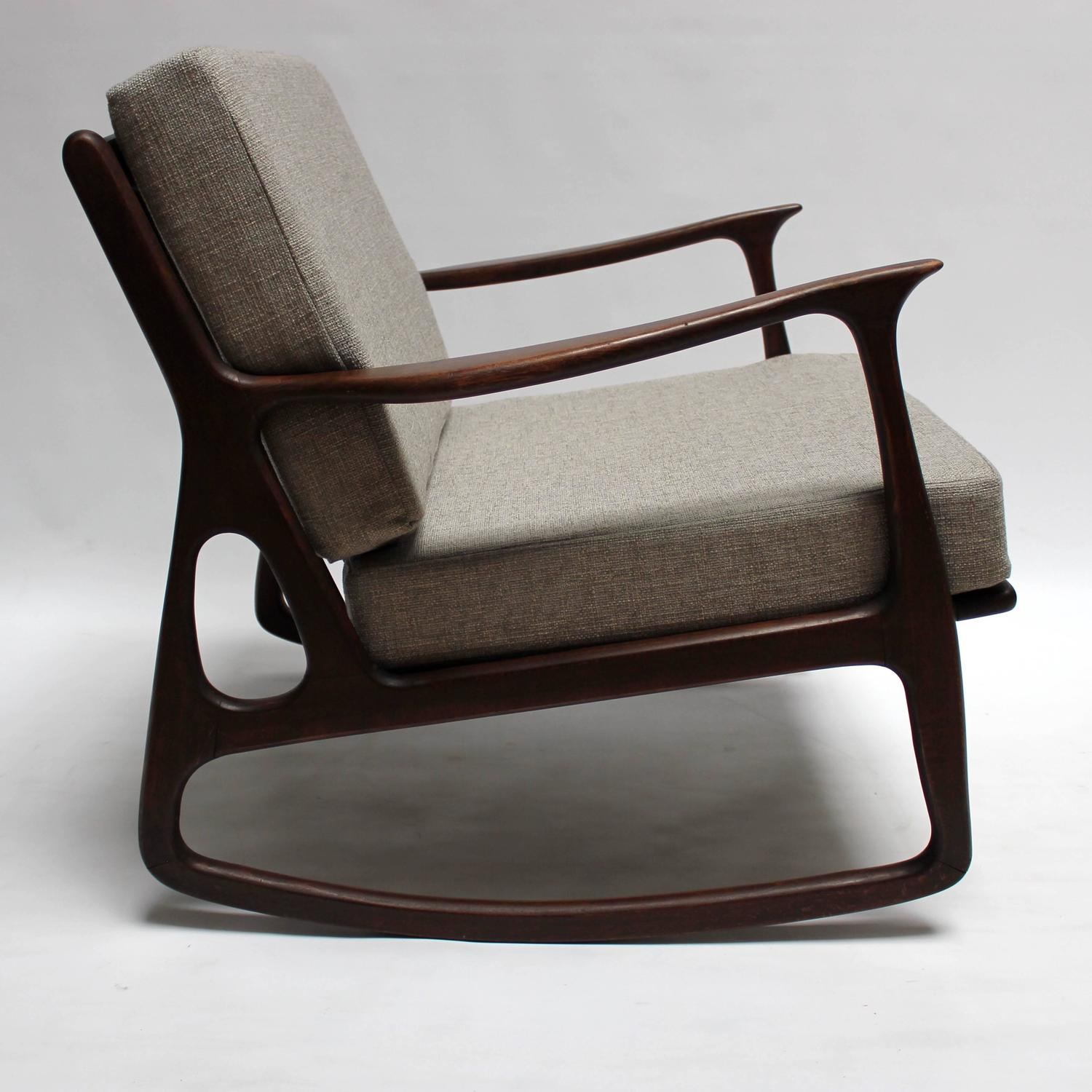 chrome of padded unique and classic milo mid fabric picture century rocking chair baughman