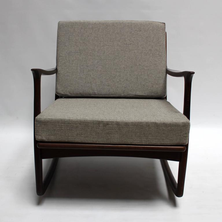 this mid century modern italian upholstered walnut rocking chair is no