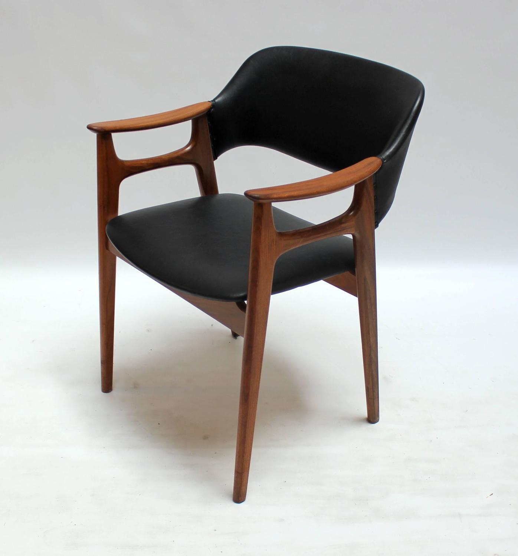 four 1960s scandinavian modern teak and vinyl dining chairs at 1stdibs