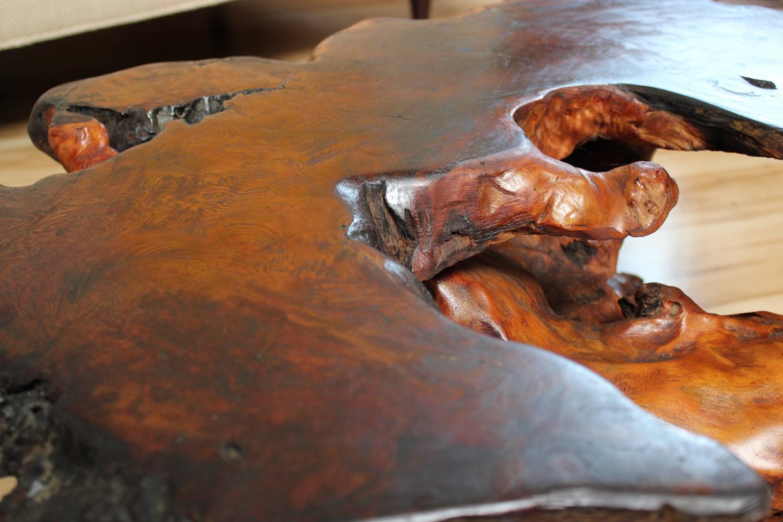 Redwood Burl Coffee Table With Burl Base At 1stdibs