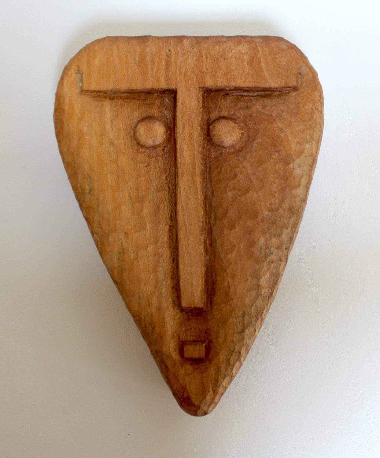 Decorative Wall Face Masks : Set of four mid century hand carved walnut and maple