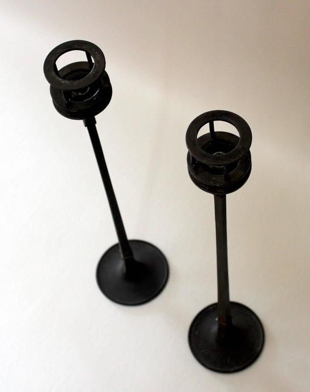 Pair of 1960s iron candlesticks designed by Jens Quistgaard for Dansk.