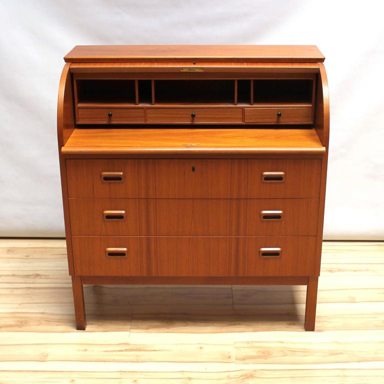 1960s Scandinavian Teak Roll Top Secretary Desk 2