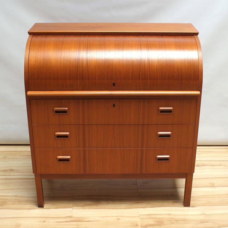1960s Scandinavian Teak Roll Top Secretary Desk 4