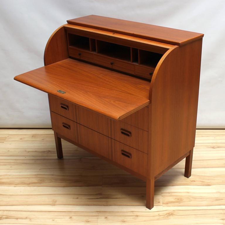 1960s Scandinavian Teak Roll Top Secretary Desk 3