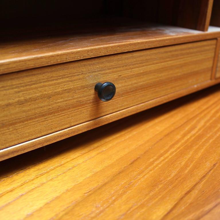 1960s Scandinavian Teak Roll Top Secretary Desk 8