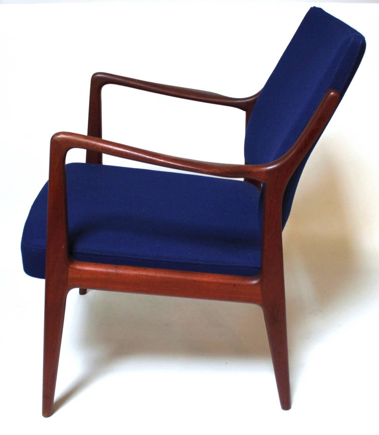 1960s Swedish Modern Teak Lounge Chair Upholstered With