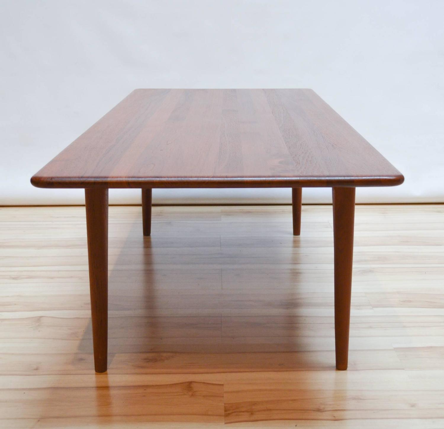 Mikael laursen solid teak coffee table attributed to hans wegner at 1stdibs Solid teak coffee table