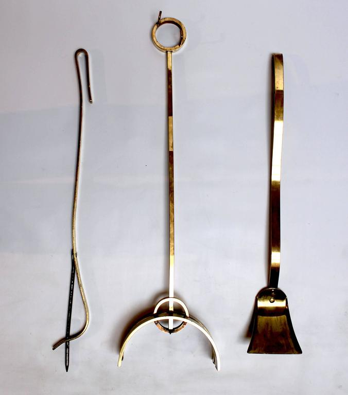 Set Of Mid Century Modern Bronze Fireplace Tools Attributed To Donald Deskey At 1stdibs