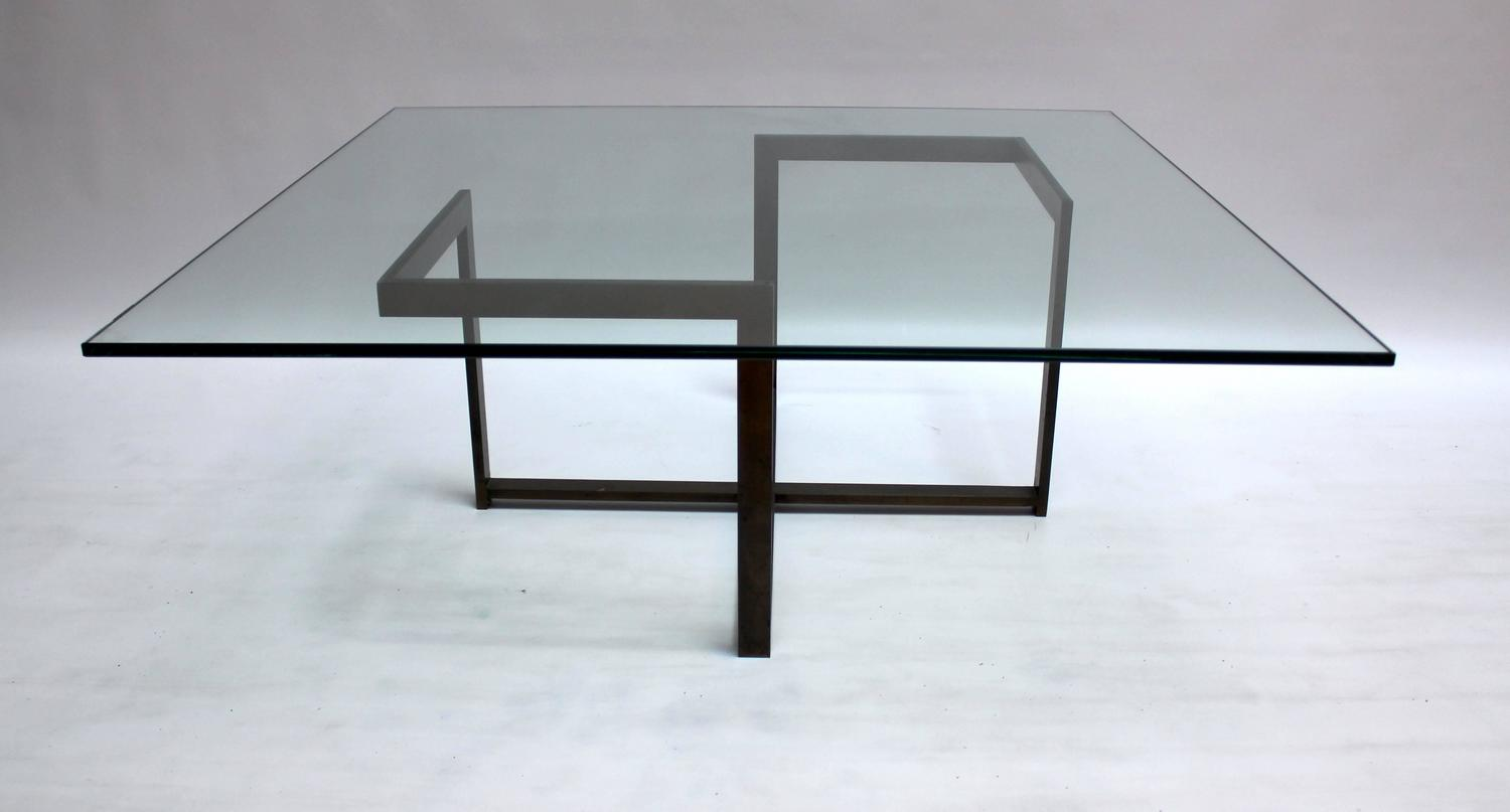 1960s Milo Baughman Bronze And Glass Coffee Table At 1stdibs