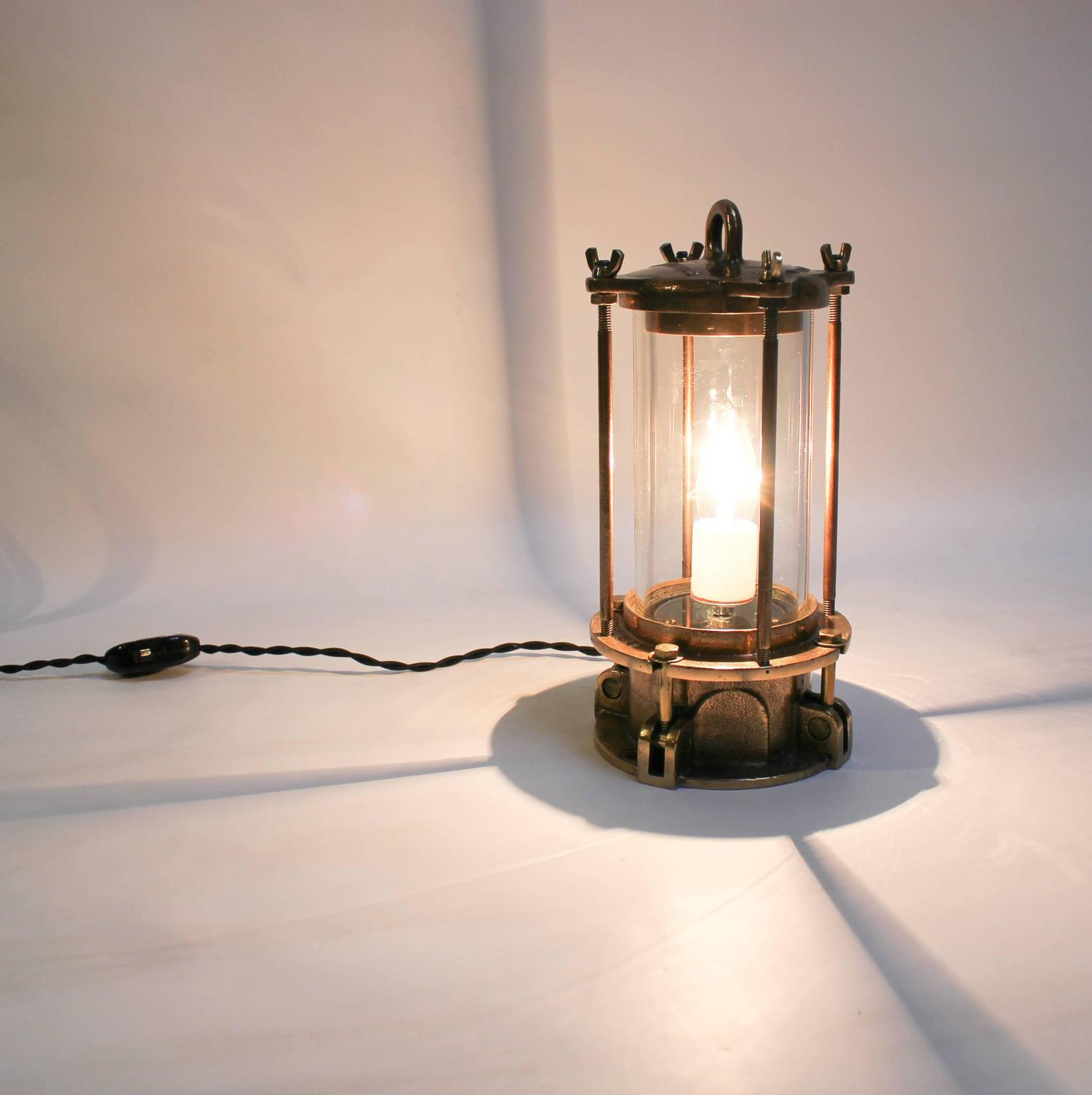 Cast bronze industrial sight glass lamp with caged