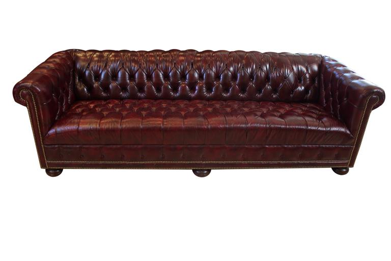 Charming Vintage Tufted Leather 8u0027 Chesterfield Sofa 2
