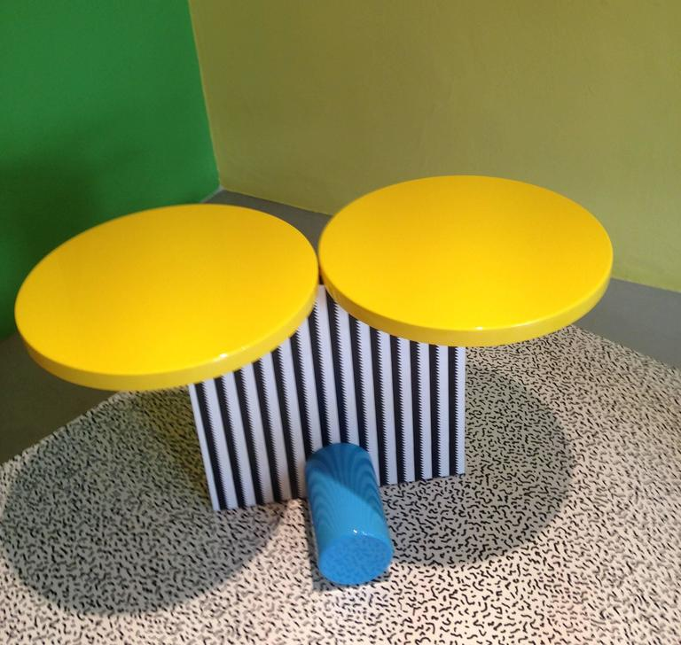"Another quirky anthropomorphic table by Michele De Lucchi, early Memphis trailblazer (looks a little like ""Mickey"", don't it??).  When you think of Memphis, this is truly it!! Bright lacquered colors and the De Lucchi-designed Abet plastic"