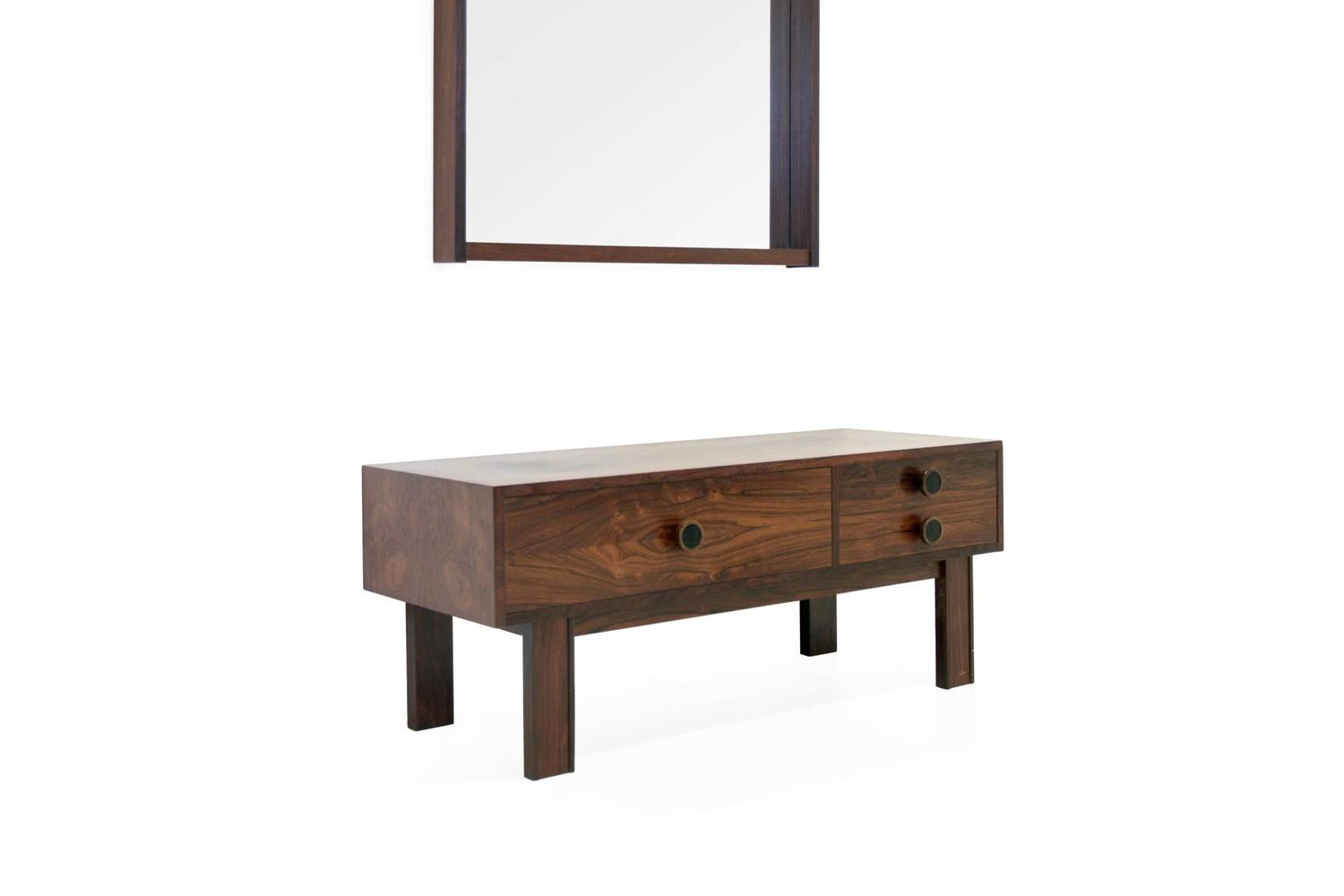 swedish hallway bureau console and mirror in rosewood 1960s for sale at 1stdibs. Black Bedroom Furniture Sets. Home Design Ideas