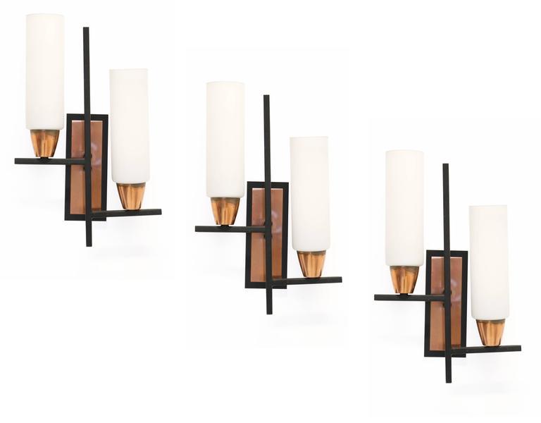 Set of Three Scandinavian Wall Lights, 1960s