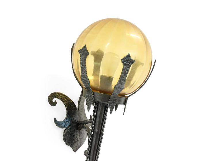 Large Gothic Wall Sconces : Pair of Large Gothic Outdoor Wall Lamps in Iron, 1950s For Sale at 1stdibs