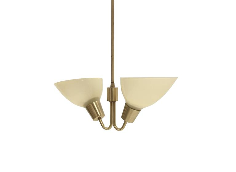 Sublime and refreshing two-armed chandelier on a brass frame and opaline glass shades.  Most likely designed and made in Norway circa 1960 second half.  The lamp is fully working and in good vintage condition with minor wear.