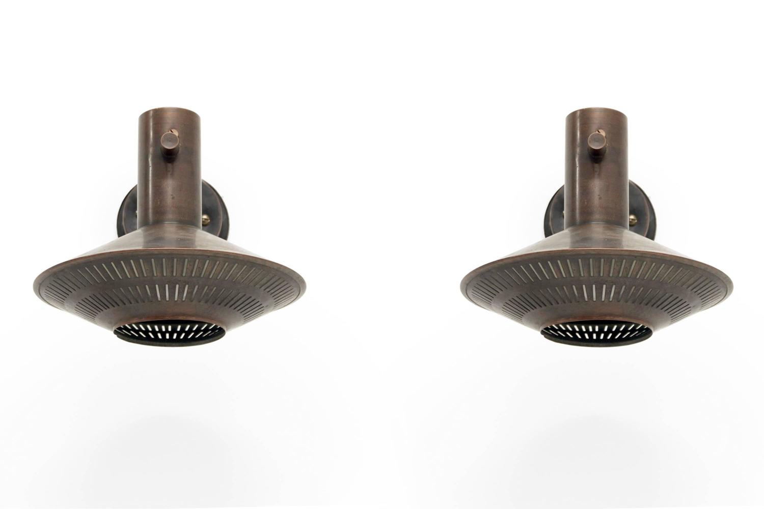 Pair of mid century outdoor lights by finn lunde 1970s at for Mid century exterior lighting