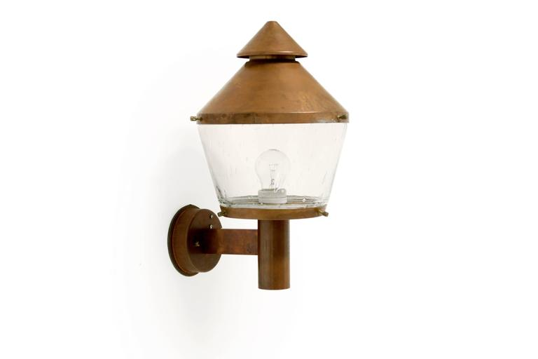 Large mid century outdoor wall light in copper by for Mid century porch light