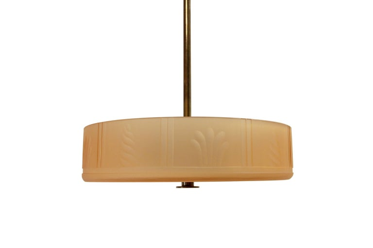 Swedish Art Deco Ceiling Lamp by Orrefors, 1930s In Excellent Condition For Sale In Oslo, NO