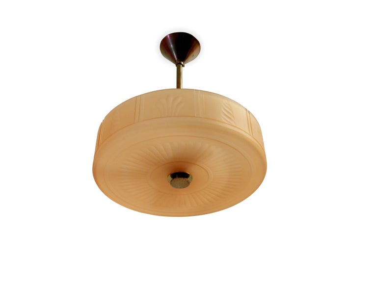 Brass Swedish Art Deco Ceiling Lamp by Orrefors, 1930s For Sale