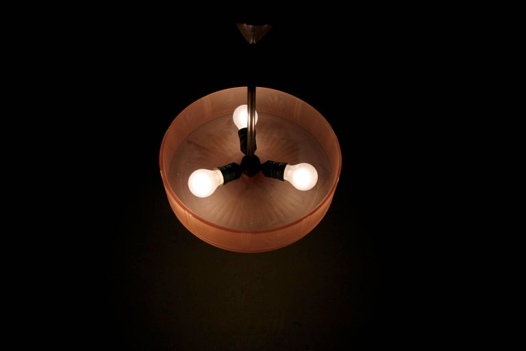 Swedish Art Deco Ceiling Lamp by Orrefors, 1930s For Sale 4