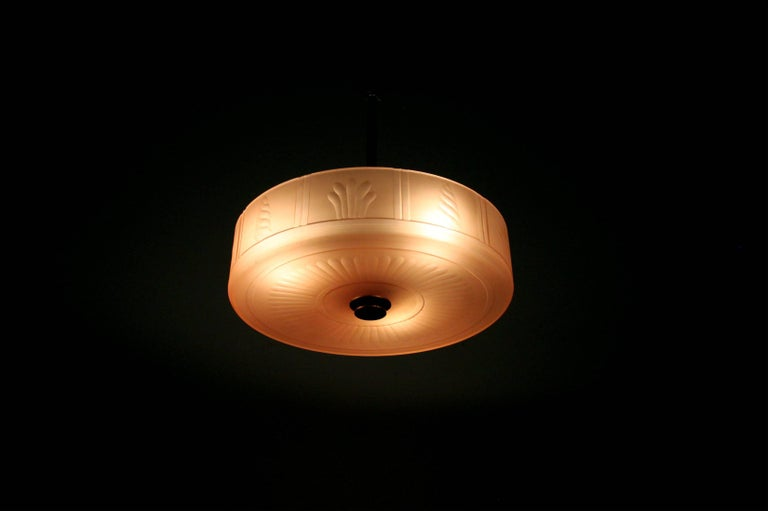 Swedish Art Deco Ceiling Lamp by Orrefors, 1930s For Sale 1