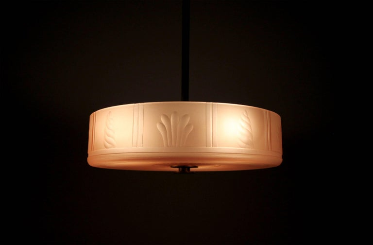 Swedish Art Deco Ceiling Lamp by Orrefors, 1930s For Sale 2