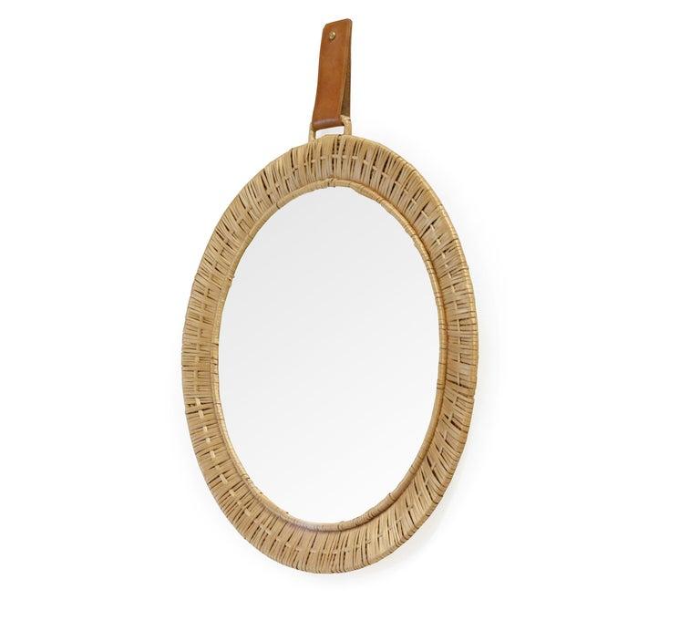 Mid-Century Modern Scandinavian Rattan Mirror, 1950s For Sale