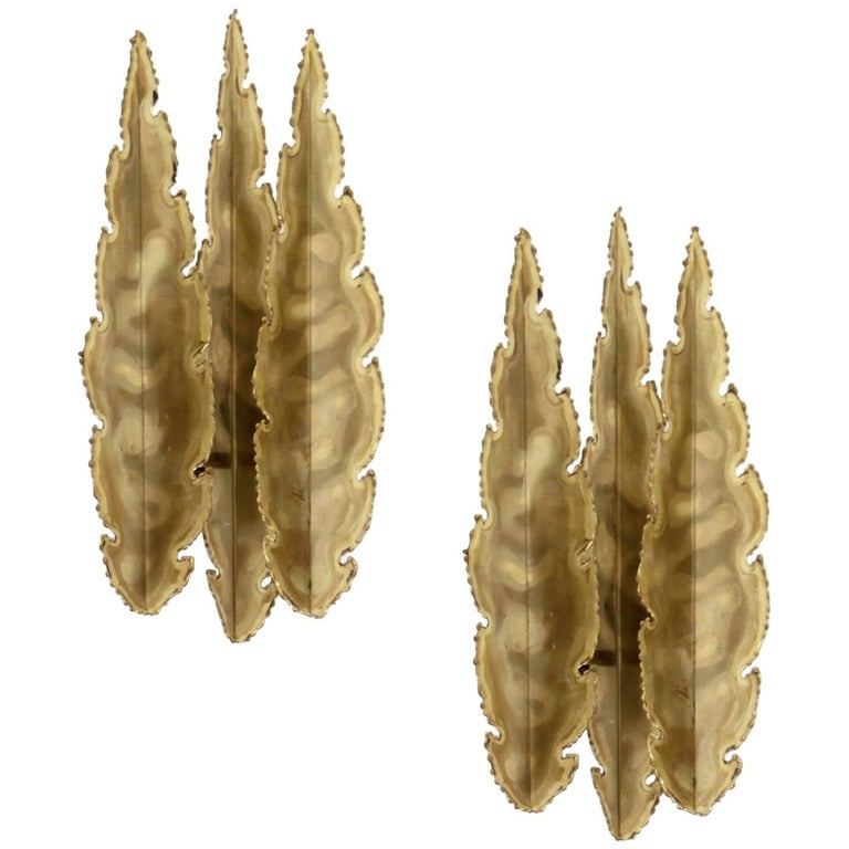 Decorative Pair of Wall Lights in Brass by Sevnd Aage Holm Sørensen, 1970s