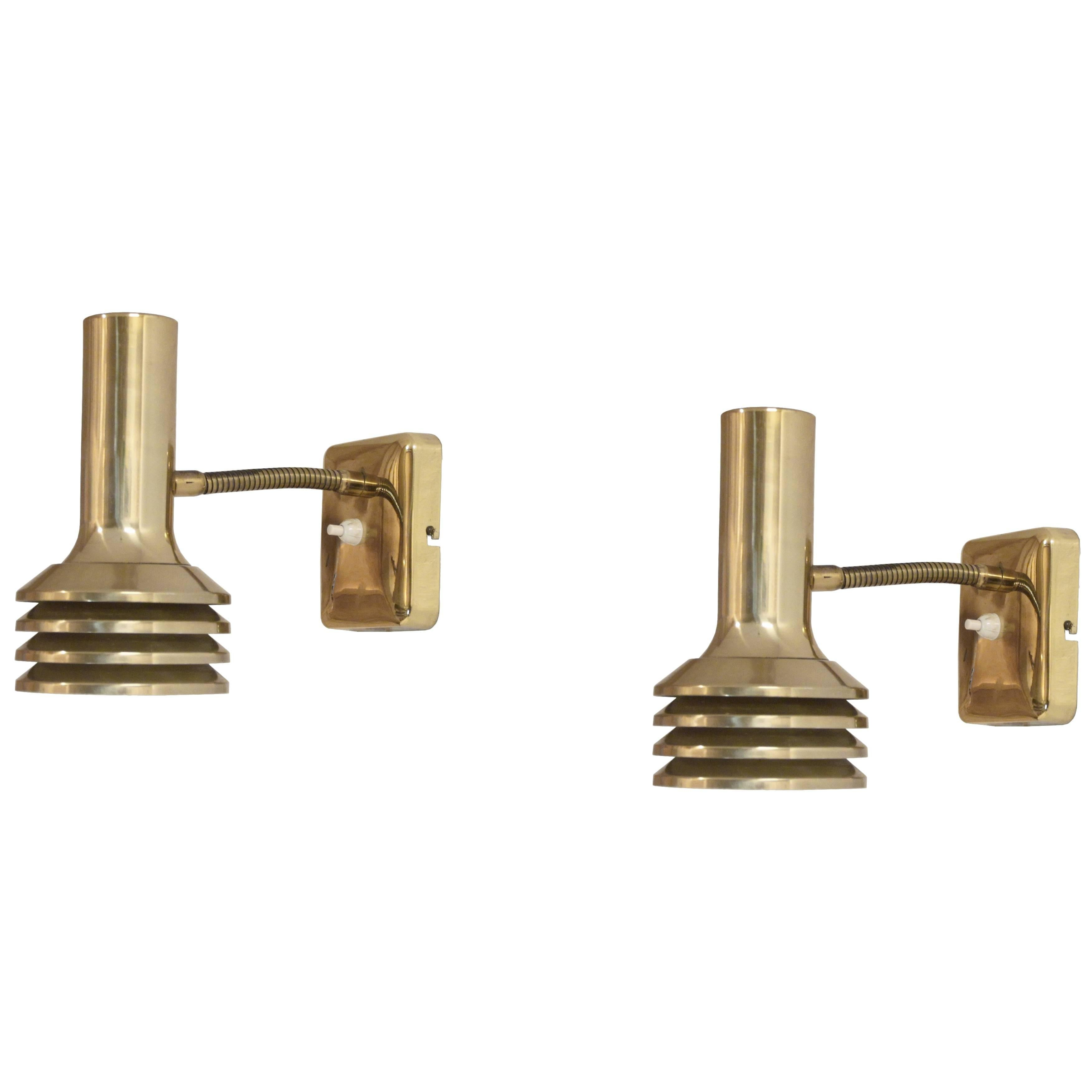 Pair of Wall Lights in Brass by Bison, Norway, 1960s