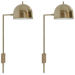 Pair of Wall Lights in Brass by Bergboms, Sweden, 1960s