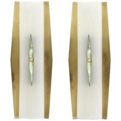 Pair of Functionalist Wall Sconces in Brass by Jonas Hidle Høvik Lys, 1950s