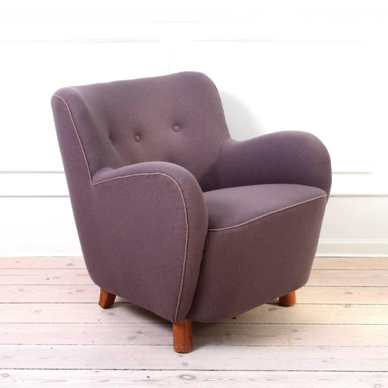 Scandinavian Modern Pair of Mogens Lassen Easy Chairs in Dusty Purple Wool, 1940s For Sale