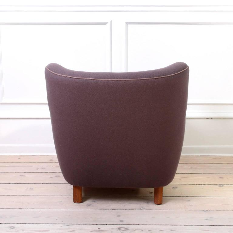 Danish Pair of Mogens Lassen Easy Chairs in Dusty Purple Wool, 1940s For Sale