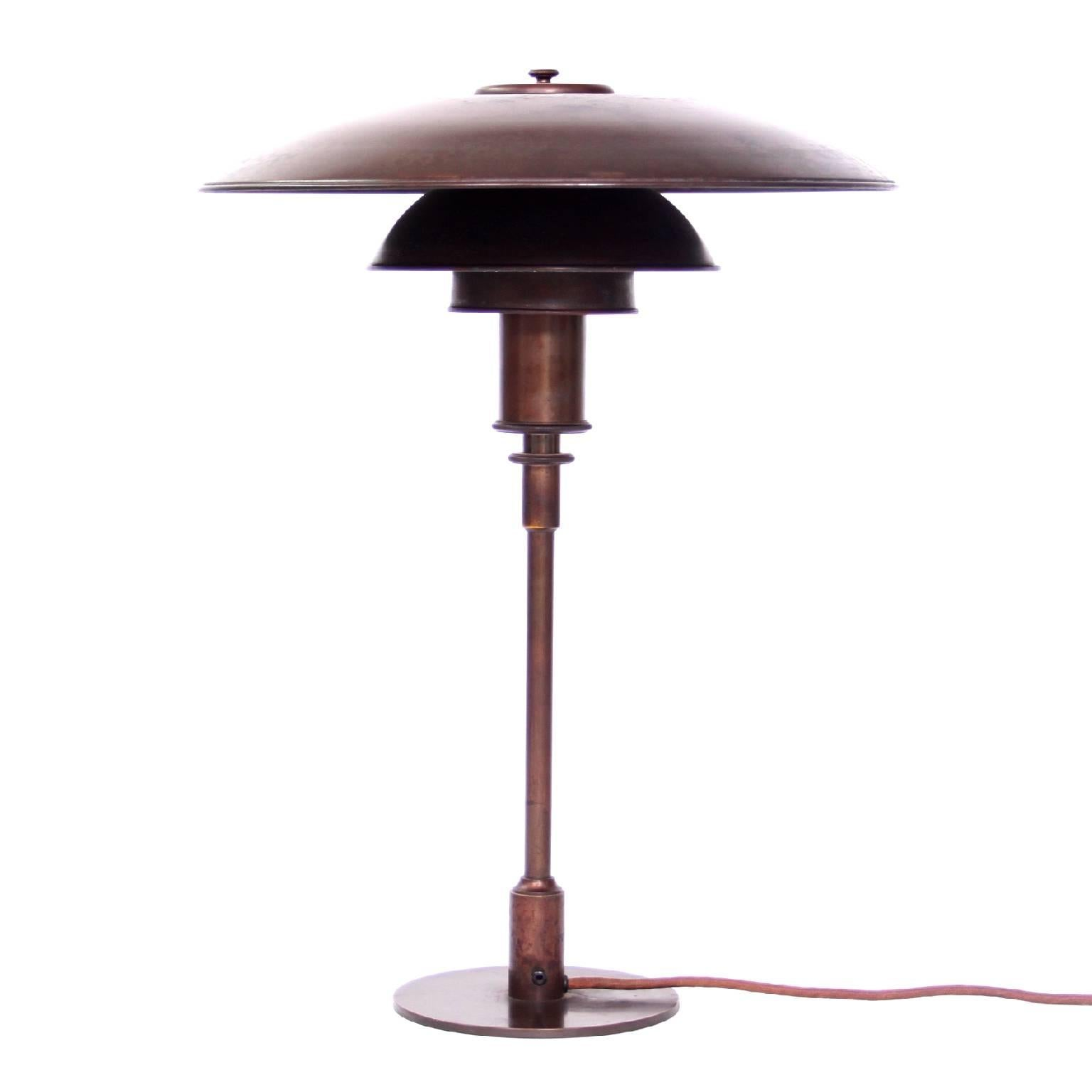 Early Poul Henningsen Copper Table Lamp, 1930s
