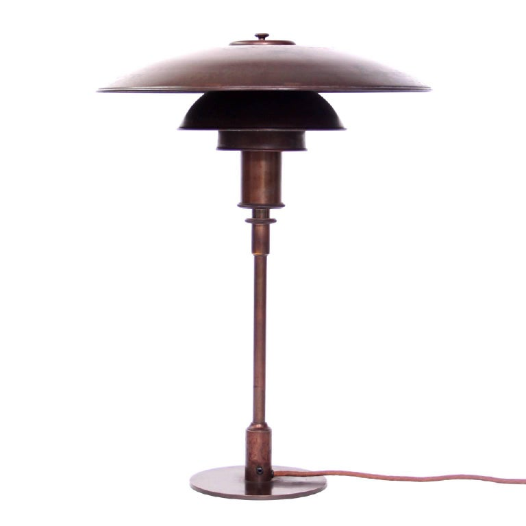 Early Poul Henningsen Copper Table Lamp, 1930s For Sale