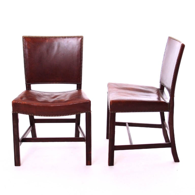 Scandinavian Modern A Pair of Kaare Klint Red Chairs in Brown Leather by Rud Rasmussen, 1930s For Sale