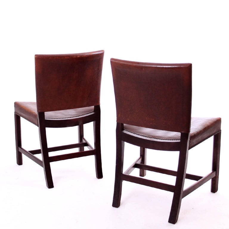 Danish A Pair of Kaare Klint Red Chairs in Brown Leather by Rud Rasmussen, 1930s For Sale