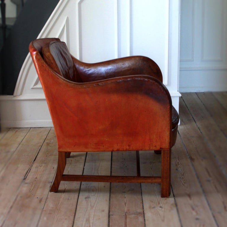 Danish Exceptional Kaare Klint Mix Chair in Original Niger Leather For Sale
