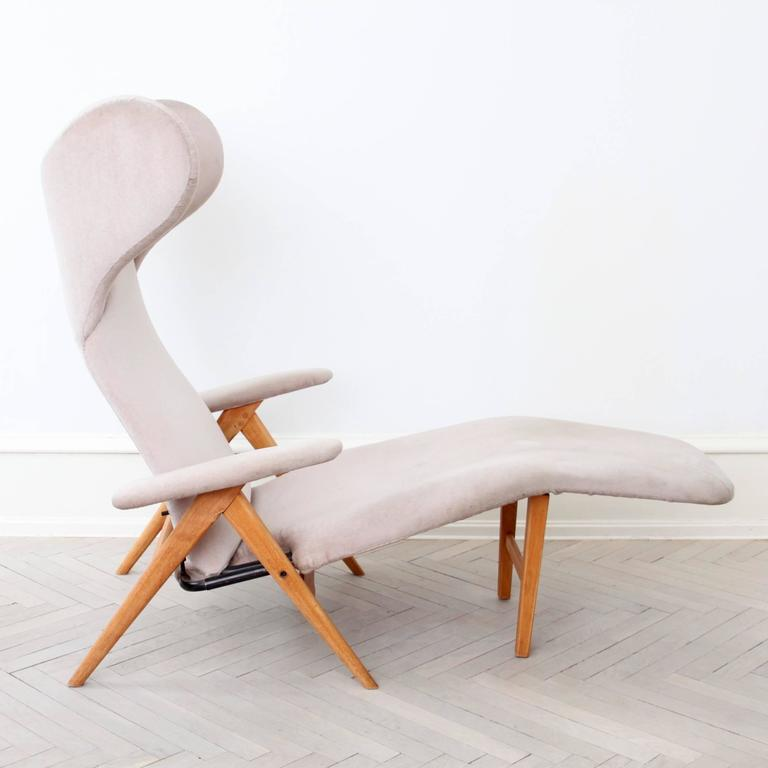 Original H.W. Klein Chaise Longue Chair in Teak and Fabric 2