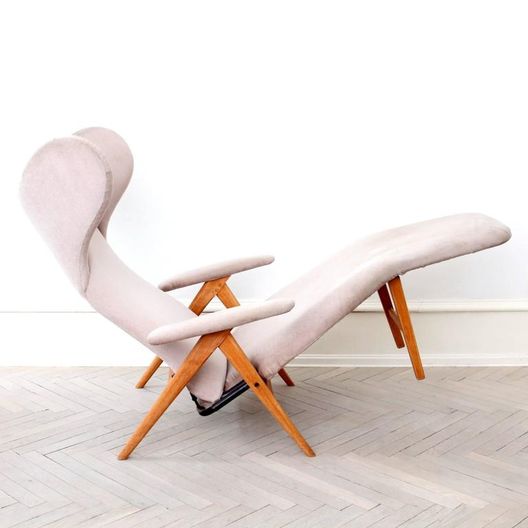 Original H.W. Klein Chaise Longue Chair in Teak and Fabric 3