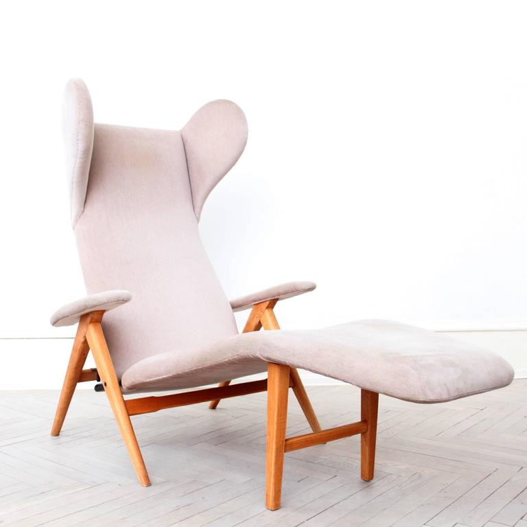 Original H.W. Klein Chaise Longue Chair in Teak and Fabric 4