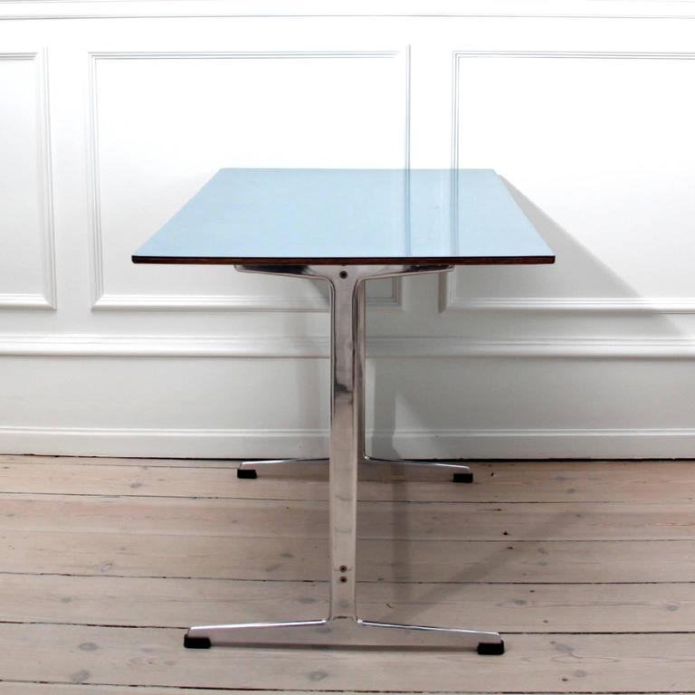Scandinavian Modern Arne Jacobsen Table in Blue Formica for Iconic SAS Royal Hotel, 1950's For Sale
