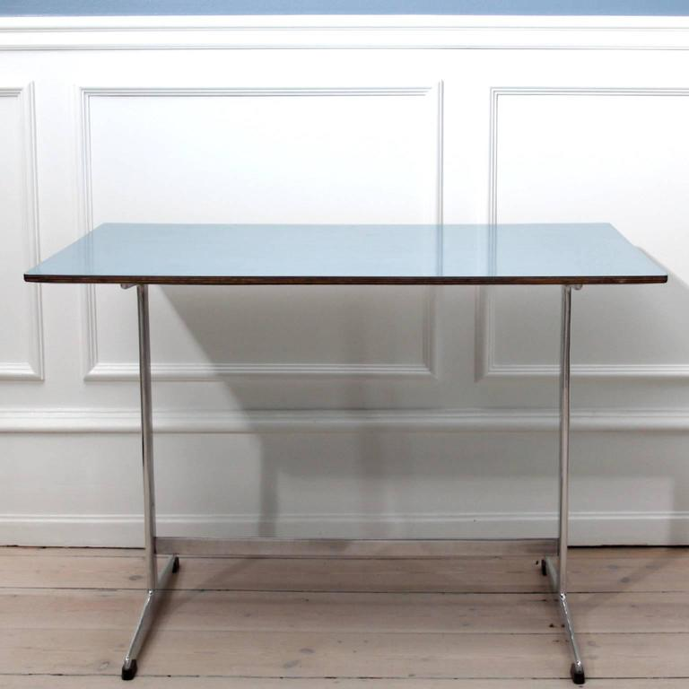 Danish Arne Jacobsen Table in Blue Formica for Iconic SAS Royal Hotel, 1950's For Sale