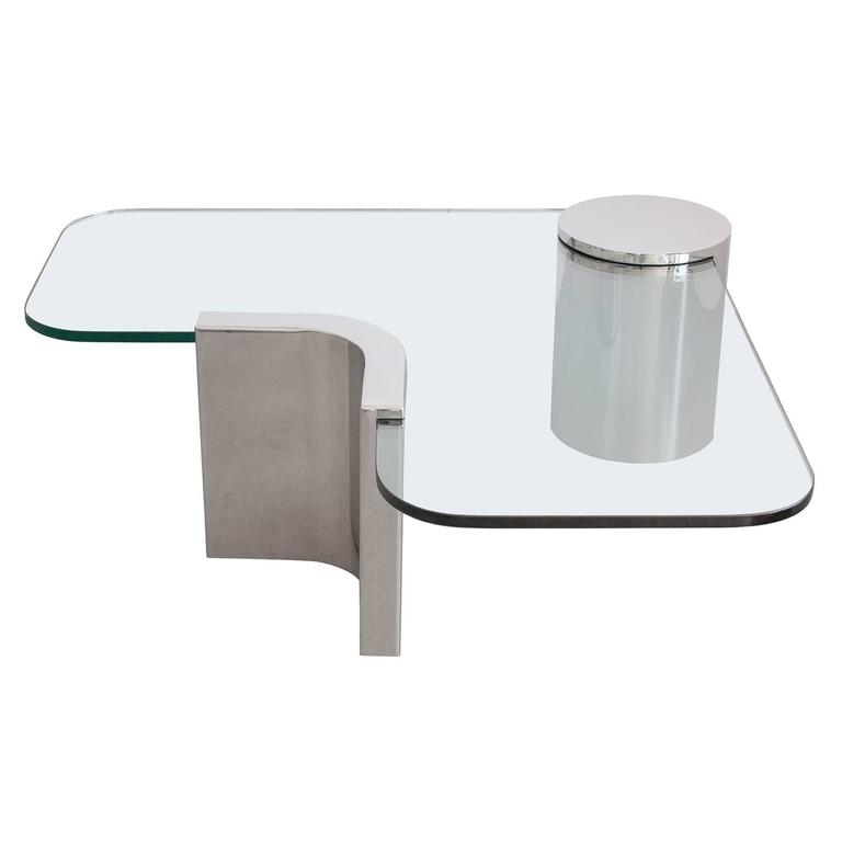 Attractive Polished Steel Cantilever Coffee Table 1