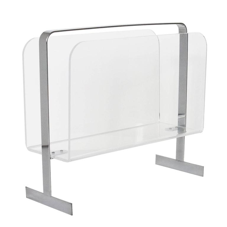 Lucite Chrome Magazine Rack Attributed To Milo Baughman At 40stdibs Delectable Lucite Magazine Holder